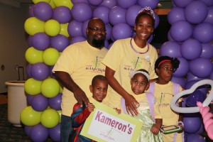 Wish child Kameron and family enjoy a warm welcome at Orlando International Airport.